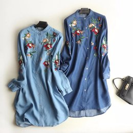 7b7851f66d2 2018 women clothing long sleeve floral embroidery washed denim shirt dress  Female fashion casual loose mini jean dresses S2786