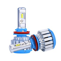 Wholesale headlight plugs - 2Pcs Plug&Play H8 H9 H11 LED Headlights T1 7000LM Auto SMD Chips 70W 6000K White Automobile Bulbs DRL Fog Light Replacement