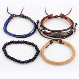 Wholesale vintage wrist bands - ER Vintage Tribal Bohemian Feather Bracelet Boho Silver Alloy Leaf Bracelet Cuff Men Leather Braclet Femme Male Wrist Band LB143