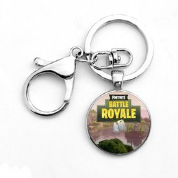 Wholesale Toy Men Black Glasses - 2018 new 8 Styles Fortnite Props Toy Gift Hot&Classic FPS Game Fortnite Keychain Cool Metal Time Jewel Pendant