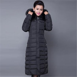 Wholesale Women Snow Jacket Fur - Snow Wear Hood Plus Size Winter COAT Women 2016 Large Faux Fur Collar Down Parka X-long OverCoats Warm Winter Jacket ZY2001