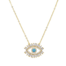 Wholesale turkish evil eye necklaces - 18k gold plated Turkish evil eye necklace lucky girl gift Baguette cubic zirconia turquoise geomstone top quality evil eye jewelry