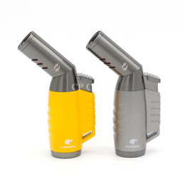 Wholesale Windproof Cigar Torch Lighter - COHIBA Yellow Grey Metal Rotatable Gasline Triple Flame Torch Windproof Butane Gas Cigar Cigarette Lighter with Gift Box