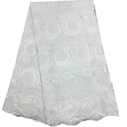 Wholesale White Swiss Cotton Voile Lace - African Dry Lace Fabrics High Quality Cotton Lace Fabric Swiss Voile With Stone Swiss Voile Lace In Switzerland white HR57-27