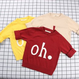 Wholesale Metallic Jacquard - 3 color INS 2018 Hot selling new style English jacquard letter oh sweater high quality cotton spring autumn warm Cotton knitted sweater