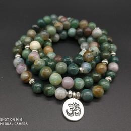 Canada 108 mala Onyx indien avec Lotus OM Bouddha Charm Yoga Bracelet ou collier Bijoux en pierre naturelle dropshipping cheap indian mala Offre