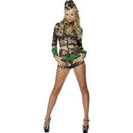 Kleid einheitliche armee online-2018 Sexy Frauen Camouflage Kleidung Erotische Dessous Feld Armee Instruktoren Uniformen Halloween Cosplay Kleid Kostüm