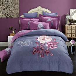 Wholesale King Size Flowered Cotton Sheets - Svetanya Sheet Pillowcases & Duvet cover Sets 100% Sanding Cotton Queen Full King Size Bedding Set Flower Print Purple
