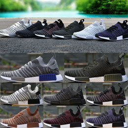 420426df8f193 NMD R1 Running Shoes 2018 Chukka Primeknit Blue White Tint America Mens And Womens  Sport Mesh Brathable Sneaker Size 36-45