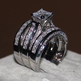 conjuntos de boda de oro blanco cz Rebajas anillos de boda de lujo establece Cz diamante Bandas de Boda de Compromiso anillo de amor conjunto para mujer chapado en oro blanco anillo de dedo joyería regalos