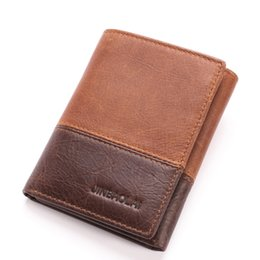 Wholesale Name Brand Design - New Fashion Casual Leather Short Men's Wallet High Quality 3 Folding Bags Brand Name Card Holder Design Credit Card Holders Men's Wallets