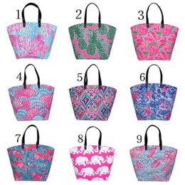 Wholesale Flower Wall Prints - Colorful Lilly Women Beach Bag Storage Canvas Shoulder Bags Travel Flower Printing Ladies Tote Large Capacity Handbags Hot Sale 23yh Z