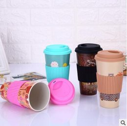 2019 taille du café Tasses à café en bambou qui respecte l'environnement de fibre de fibre de résistance à la chaleur avec la bouteille en verre de tasse de Drinkware de tasse de thé de lait de lait promotion taille du café