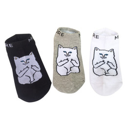 Wholesale Men Fingers Socks - Harajuku Middle Finger Cat Socks Hipster Cattoon Fashion Patterned Funny Socks Slippers Summer Thin Men Cotton Ankle Socks Low