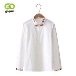 GOPLUS Vintage Embroidery Floral Womens Tops Blouses Long Sleeve Blusas  Mujer De Moda 2018 Turn-down Collar White Shirts C6281 4284790cc
