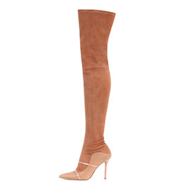 Botas de tubo de cocina online-2018 nuevas botas de moda punta puntiaguda Stovepipe tacones altos botas de invierno Zapatos hasta el muslo Las mujeres se deslizan sobre las botas zapatos de fiesta