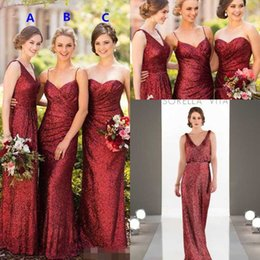 Wholesale Junior Bridesmaid Mermaid Dresses - Sparkly Burgundy Sequins Long Bridesmaid Dresses 2018 More style Full length Country Garden Wedding Party Guest Junior Dress