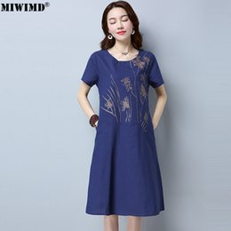 00212f4d626a MIWIMD Women Summer Dresses 2018 New Fashion Casual Loose Cotton Linen  Printing Patchwork Short Sleeve Vintage Dress Big Size
