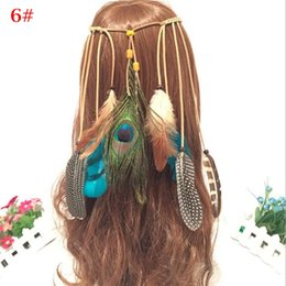 Wholesale handmade holiday decorations - Colorful Bohemian Indian Feather Headband Women Girls Handmade Weave Hair Band Head Chain Holiday Party Headwear