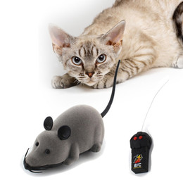 presente novidade eletrônica Desconto Toy Cat engraçado remoto Rat Controle Wireless Mouse novidade presente simulação de pelúcia engraçado RC Rato Eletrônico Toy Dog Pet Para Crianças