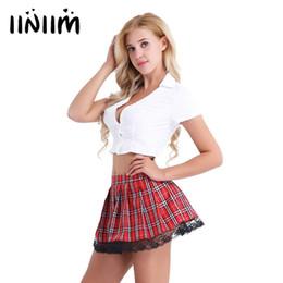 5374bb1e1b iiniim Womens Sexy Adult Lingerie School Girl Cosplay Costumes Uniform Short  Sleeve Crop Top with Plaid Mini Skirt Set