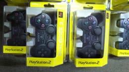 Canada DHL Filaire Double Contrôleur De Choc De Vibration Compatible Pour Playstation 2 PS2 Console Jeux Vidéo Noir Emballage de Détail Offre