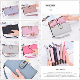 Wholesale Ladies Leather Drawstring Bag - Women Drawstring Stripe Purse Leather Long Wallet Phone Bag Luxury Brand Wallets Designer Card Holder Clutch Purse LJJA11