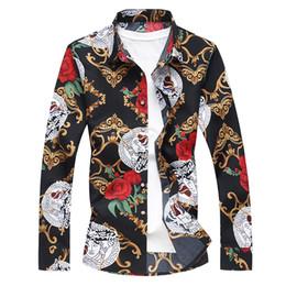 Einzelne blütenhülsen online-Mode Männer Herbst Langarm Revers Shirt Jugend plus sizeM-7XL Blumenhemd Baumwolle Hawaiian Flower Top