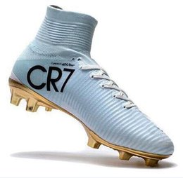 Wholesale womens cheap football boots - 2018 cr7 kids football boots leahter youth boys soccer cleats mercurial superfly indoor soccer shoes mens womens high top neymar boots cheap