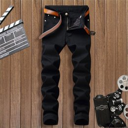 брюки мужские европейские повседневные Скидка 2018 European Style New Brand Fashion Stretch Mens Jeans Black Printing Men Slim Fit Casual Trousers Tight Denim Printed Pants