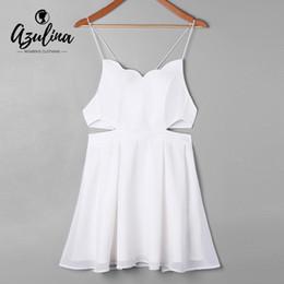 037e75331c9b 20187 AZULINA Side Cut Out Slip Mini Dress 2018 Summer Sleeveless Hollow Out  Backless Girls Dress Casual Halter Strap Sundress Vestido
