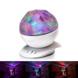 Wholesale Aurora Led - New Fashion USB Sleep Soother Lamp Colorful Projector Night Light Diamond Aurora Light Body Child Kids Bathroom Table Lamp