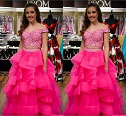 Wholesale short ball gowns for prom - Two Pieces Graceful Pink Quinceanera Dress Off-Shoulder Lace Appliques Sweet Design Prom Dresses Evening Gowns For Formal Occasions