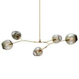 Lampadari a LED in vetro illuminazione lampada moderna novità lampada a sospensione ramo di un albero naturale sospensione sala da pranzo dell'hotel luce di Natale da