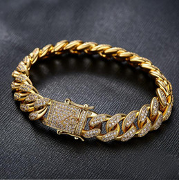Wholesale Cuban Link Chain Bracelet - Hip hop gold silver cuban chain with cz paved bracelet for men jewelry with gold plated cuban cz chain bracelet jewelry