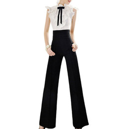 Wholesale Flat Front Pants - Vintage Office Loose Women Pants Trousers Zipper High Waist Pocket Front Flare Wide Leg OL Office Career Capris Work Wear Black