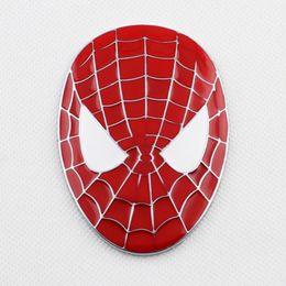 Wholesale mask spider man red - Car Badge Accessories 3D Sticker Decal Red Spider Man Mask Emblem Logo Decorate