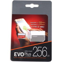 Wholesale micro digital - Orange EVO Blue PRO White Red EVO PLUS Black Red EVO PLus 64gb 128gb 256gb micro sd card with SD adapter blister retail package DHL shipping