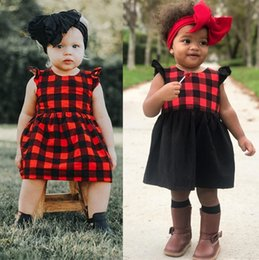 Wholesale Toddler Girls Chinese Dress - 2018 Kid Baby Girls Plaid Tutu Dress Black Red Dresses Ruffle Toddler Kids Princess Sleeveless Plaids Party Pageant Button Dresses