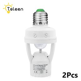 Wholesale Pir E27 - TSLEEN 2Pcs AC 110V 220V PIR Infrared Motion Sensor E27 Socket Led Light Lamp Sensor Switch Base Holder Bulb Socket 360 Degrees