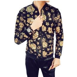 Gold schwarze jacke männer frühling jacke folie gold jacke männer  reißverschluss club outfit männer streetwear mode designer transparent  outfit günstig club ... b5ff9a84d6