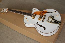 Benutzerdefinierte hohlkörper gitarren online-Custom Shop 6120 Gitarre Weiß Falcon E-gitarre Jazz Hohlkörper Mit Tremolo
