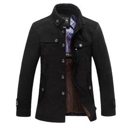 Wholesale single button pea coat - Classic Wool Pea Coat Men Manteau Homme 2016 Winter Fashion Mens Thick Cashmere Overcoat Casual Brand Duffle Coat Pea coats 3Xl