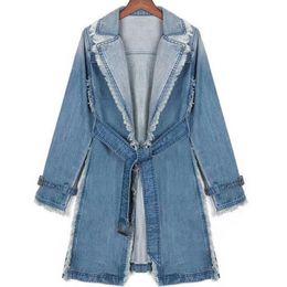 más el tamaño de denim gabardinas Rebajas Nuevo abrigo suelto Tallas grandes Trench Womens Long Denim Trench Coat Mujeres prendas de abrigo