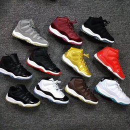Wholesale Kids Pink High Heels - Retro 11S Kids basketball shoes Sneaker Space Jam 45 heel paten leather High top Children athletic 11 footwear for Youth