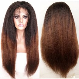 Wholesale T1b Lace Wig - Full Lace Human Hair Wigs Kinky Straight Ombre T1b 30 Brazilian Virgin Hair 130 Density With Baby Hair Lace Front Wig Bleached Knots