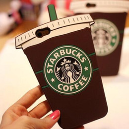 Wholesale Silicone Coffee Cup Covers - 3D Cartoon Soft Silicone Starbucks Coffee Cup Ice Cream Cover for iPhone X 8 7 6S Plus Samsung S7 Edge S8 Plus