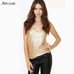 2019 réservoir brillant Or Femmes Lingerie Deep V Neck Spaghetti Bretelles Bretelles Brillantes Gilet Tank Night Club Top Vêtements réservoir brillant pas cher