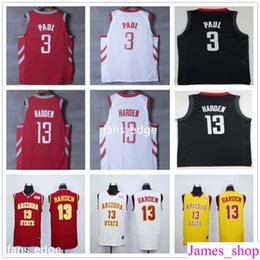 Wholesale Sun Dry - 2017-18 New Brand #3 Chris Paul Jersey Red Black White Yellow Arizona State Sun Devils College Mens #13 James Harden Basketball Jerseys