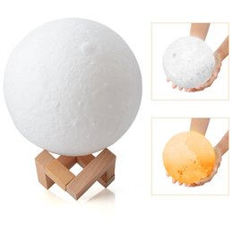 Wholesale led color changing ball - 2018 Gift Rechargeable 3D Printing 15CM Moon Lamp 3 Color Change Touch Switch Bedroom Night Light LED birthday party